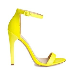 Neon Yellow Heeled Sandals